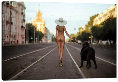 Lady With Her Dog Canvas Art Print