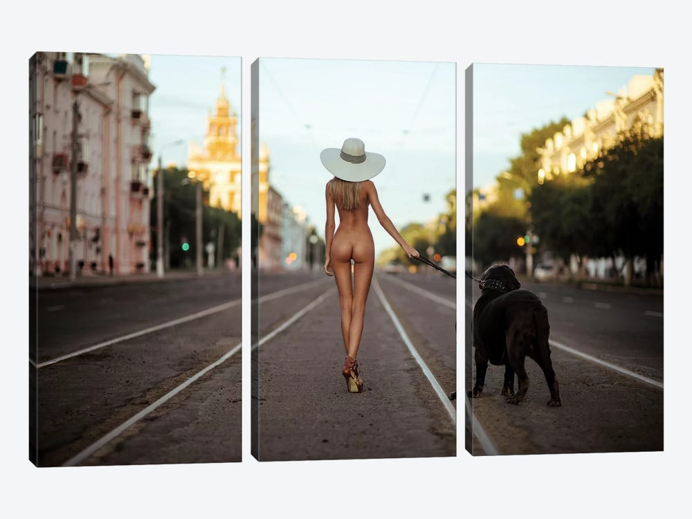Lady With Her Dog by Gene Oryx 3-piece Canvas Wall Art