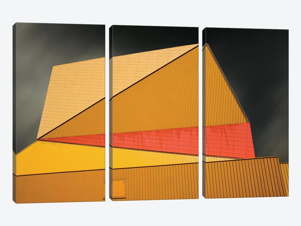 The Yellow Roof by Gilbert Claes 3-piece Canvas Art