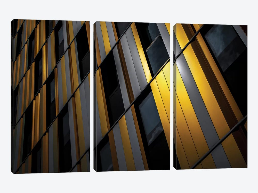 Yellow Wall by Gilbert Claes 3-piece Canvas Wall Art
