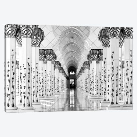 Colonnade in B&W, Sheik Zayed Grand Mosque, Abu Dhabi, U.A.E. Canvas Print #OXM1464} by Hans-Wolfgang Hawerkamp Canvas Art Print