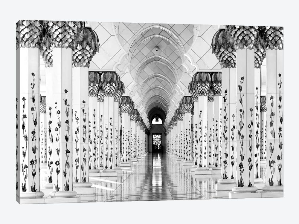 Colonnade in B&W, Sheik Zayed Grand Mosque, Abu Dhabi, U.A.E. by Hans-Wolfgang Hawerkamp 1-piece Canvas Art