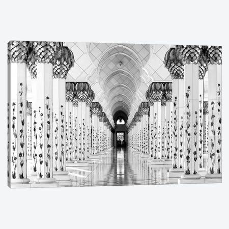 Colonnade in B&W, Sheik Zayed Grand Mosque, Abu Dhabi, U.A.E. Canvas Print #OXM1464} by Hans-Wolfgang Hawerkamp Canvas Art Print