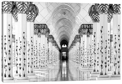 Colonnade in B&W, Sheik Zayed Grand Mosque, Abu Dhabi, U.A.E. Canvas Art Print
