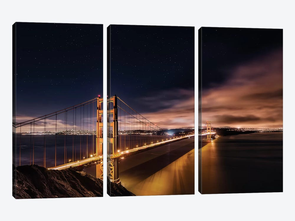 Golden Gate To The Stars by Javier de la Torre 3-piece Canvas Print