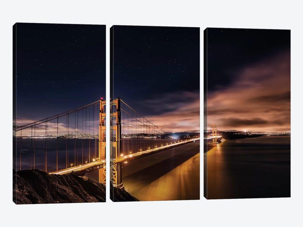 Golden Gate To The Stars by Javier de la Torre 3-piece Canvas Print