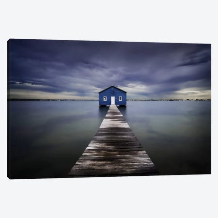 The Blue Boatshed Canvas Print #OXM1683} by Leah Kennedy Canvas Artwork