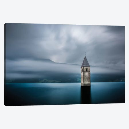 Submerged Steeple, Lake Reschen, South Tyrol Province, Trentino-Alto Adige Region, Italy Canvas Print #OXM1688} by Leon Canvas Wall Art