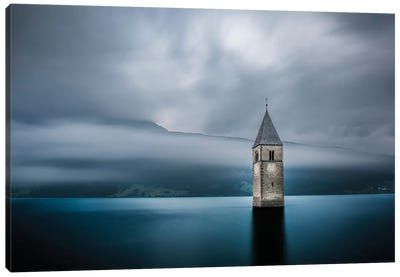 Submerged Steeple, Lake Reschen, South Tyrol Province, Trentino-Alto Adige Region, Italy Canvas Art Print