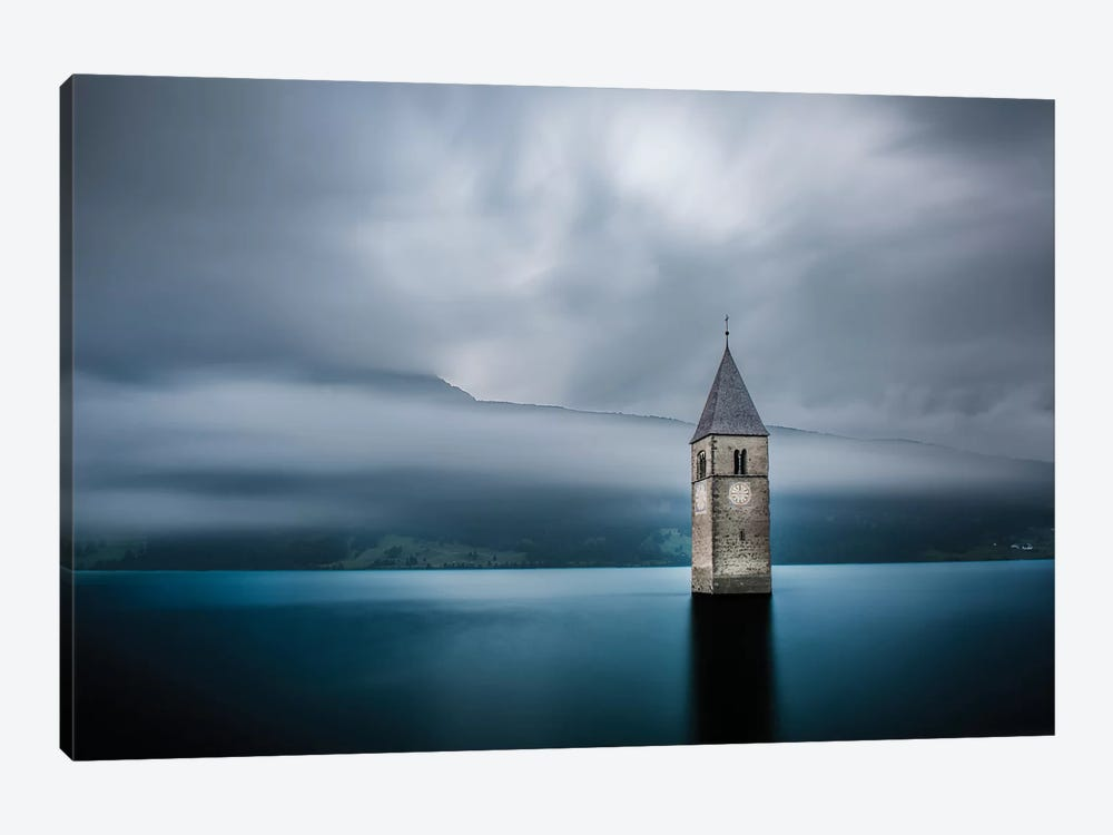 Submerged Steeple, Lake Reschen, South Tyrol Province, Trentino-Alto Adige Region, Italy 1-piece Canvas Art Print
