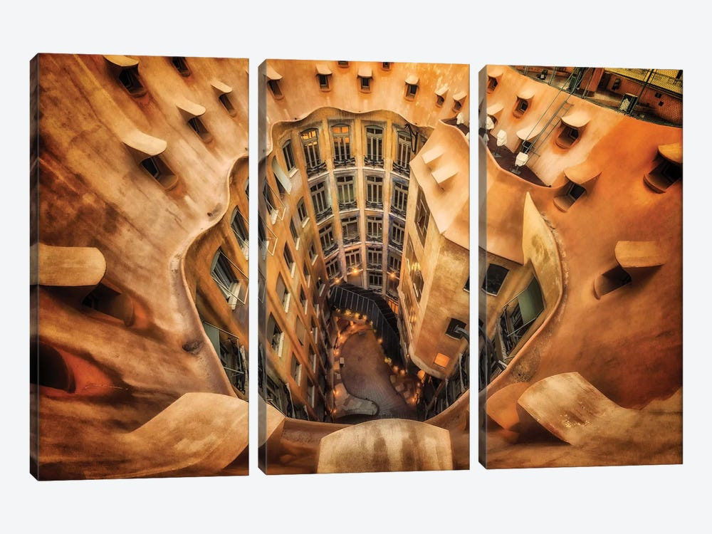 Casa Mila , La Pedrera, Barcelona, Spain 3-piece Canvas Art Print