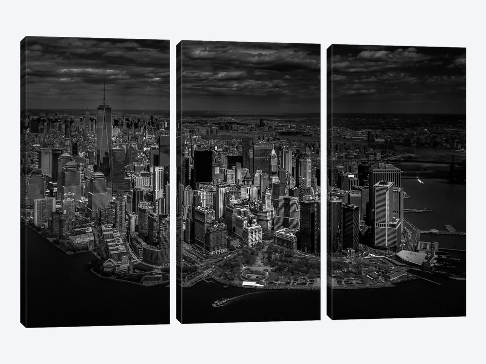 A Bird's Eye View Of Manhattan by Michael Jurek 3-piece Canvas Artwork