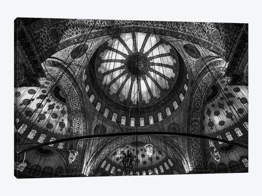 Main Columns And Domes In B&W, Sultan Ahmet Mosque (The Blue Mosque),Istanbul, Turkey by Michael Jurek 1-piece Canvas Wall Art