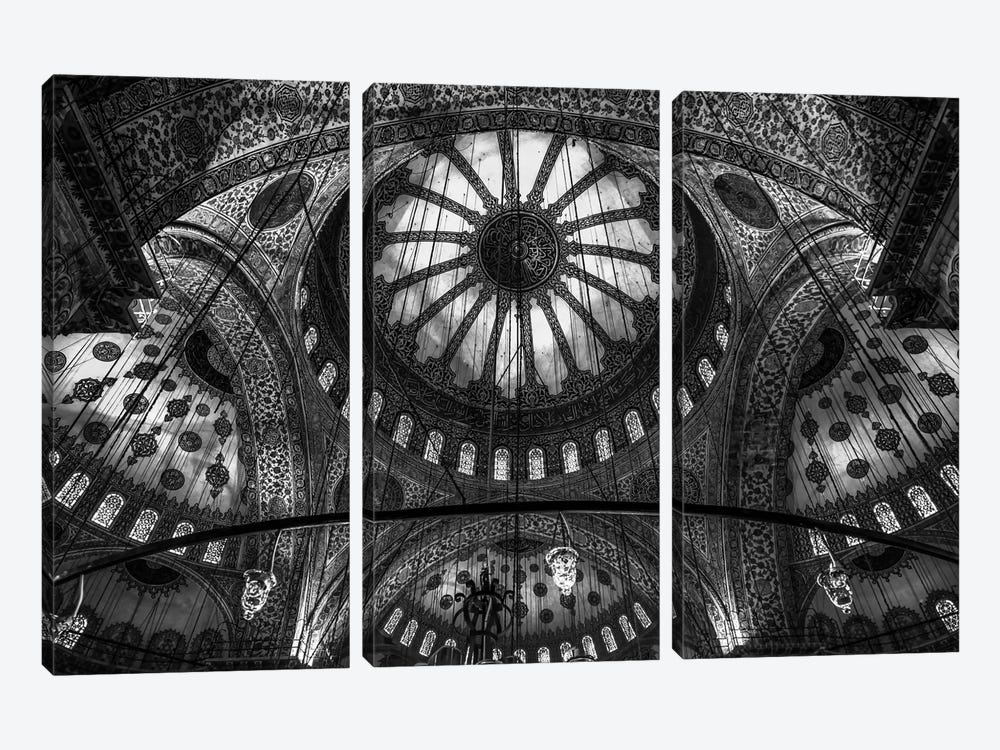 Main Columns And Domes In B&W, Sultan Ahmet Mosque (The Blue Mosque),Istanbul, Turkey by Michael Jurek 3-piece Canvas Wall Art
