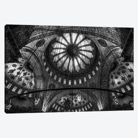 Main Columns And Domes In B&W, Sultan Ahmet Mosque (The Blue Mosque),Istanbul, Turkey Canvas Print #OXM1800} by Michael Jurek Canvas Artwork