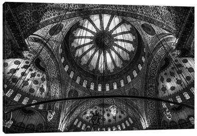 Main Columns And Domes In B&W, Sultan Ahmet Mosque (The Blue Mosque),Istanbul, Turkey Canvas Art Print
