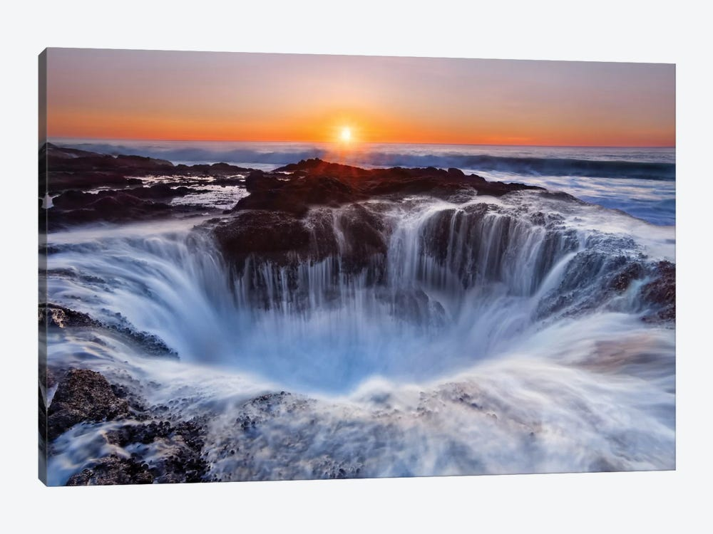 Thor's Well, Cape Perpetua, Siuslaw National Forest, Lincoln County, Oregon, USA by Miles Morgan 1-piece Canvas Artwork