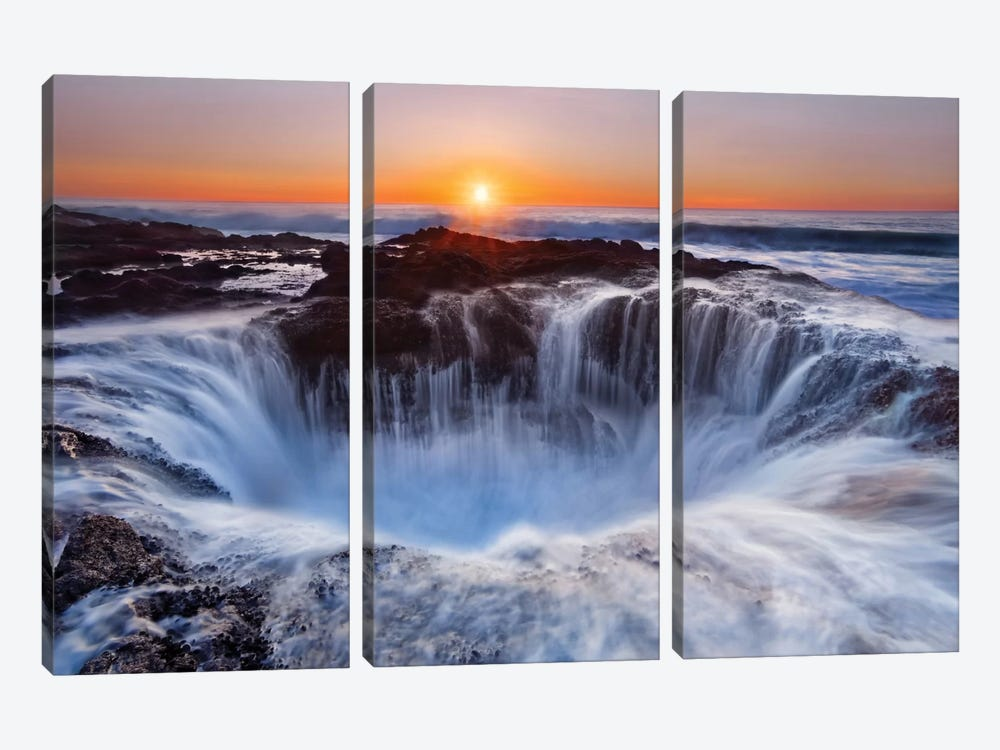 Thor's Well, Cape Perpetua, Siuslaw National Forest, Lincoln County, Oregon, USA by Miles Morgan 3-piece Canvas Art