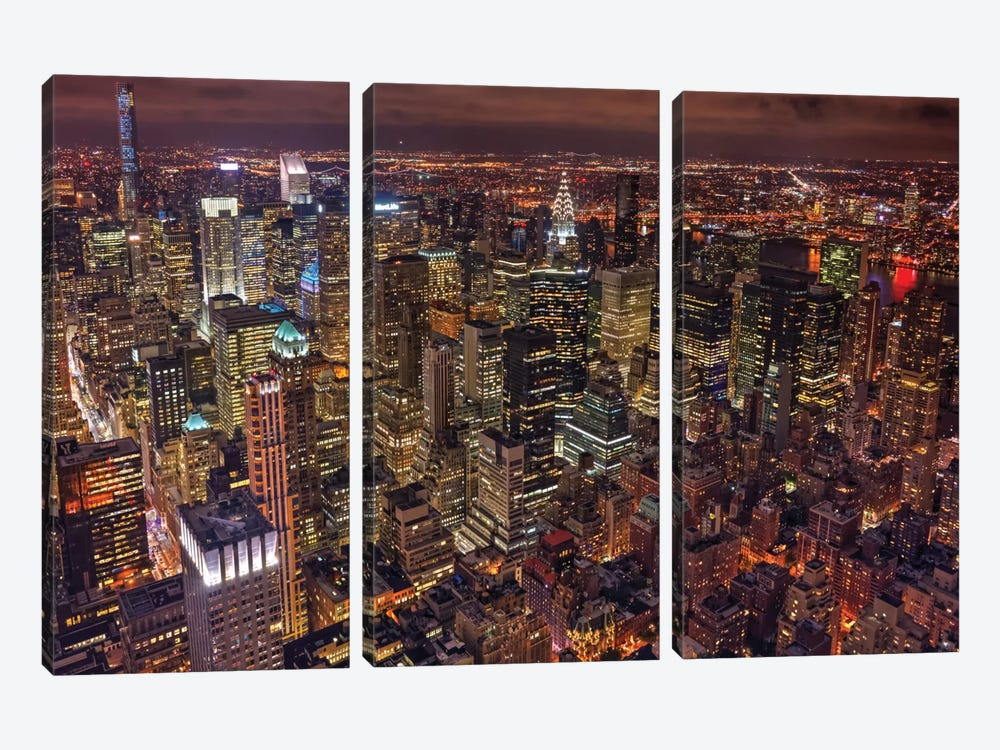 Night Life by Milton Mpounas 3-piece Canvas Print