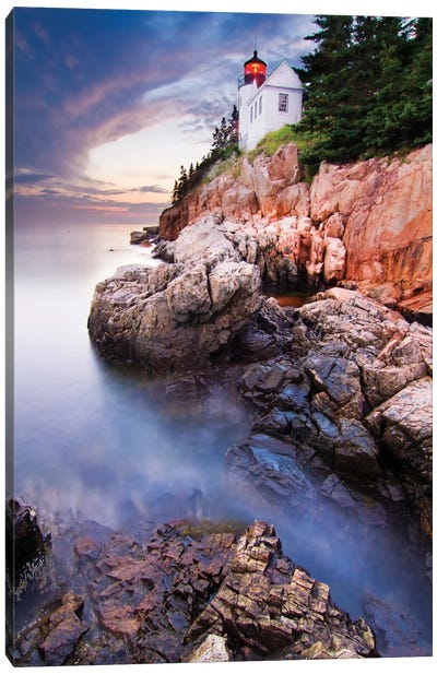 Sunset At Bass Harbor Lighthouse Canvas Art Print