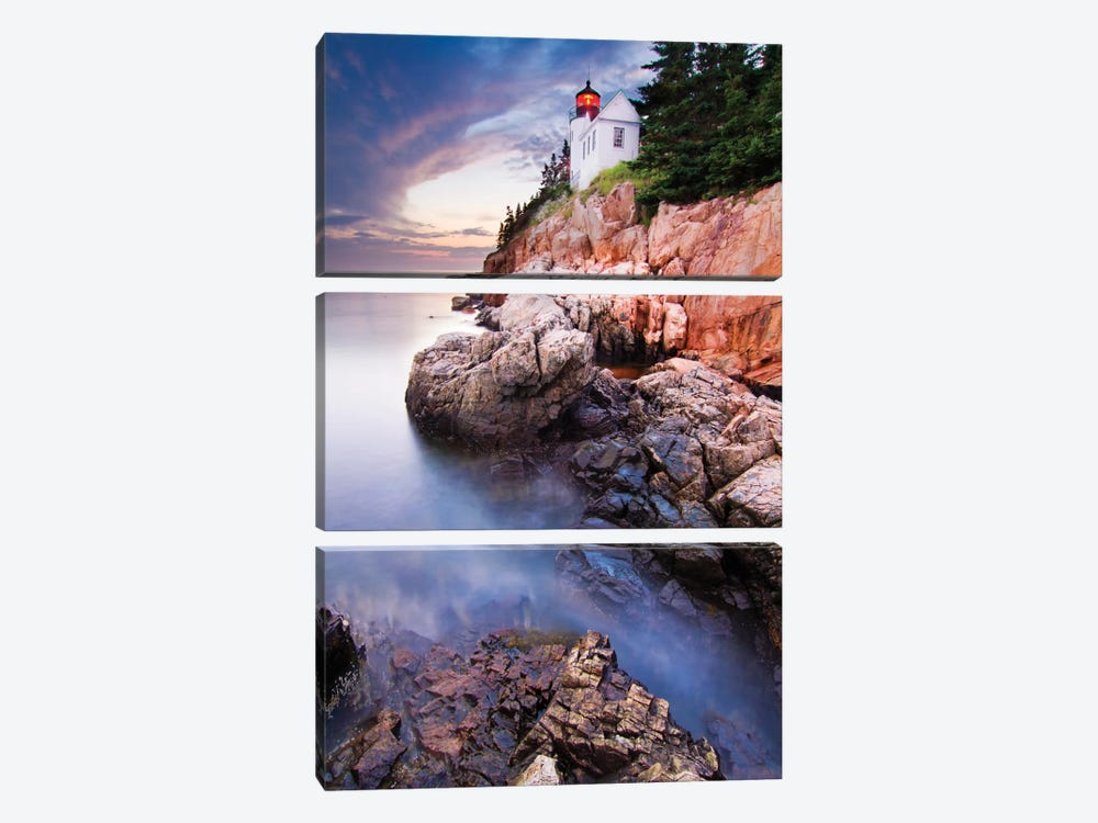 Sunset At Bass Harbor Lighthouse by Mircea Costina 3-piece Canvas Artwork