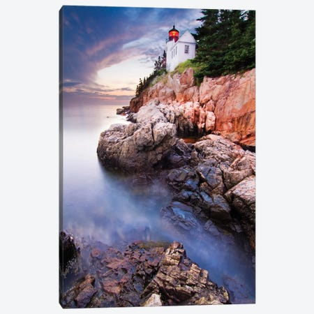 Sunset At Bass Harbor Lighthouse Canvas Print #OXM1837} by Mircea Costina Canvas Artwork