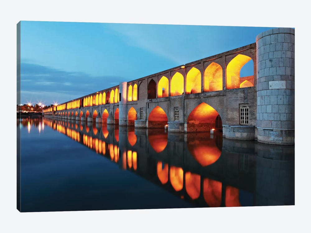 Si-o-seh pol (33 POL, The Bridge Of Thirty-Three Spans, Allahverdi Khan Bridge), Isfahan, Iran by Mohammadreza Momeni 1-piece Canvas Print