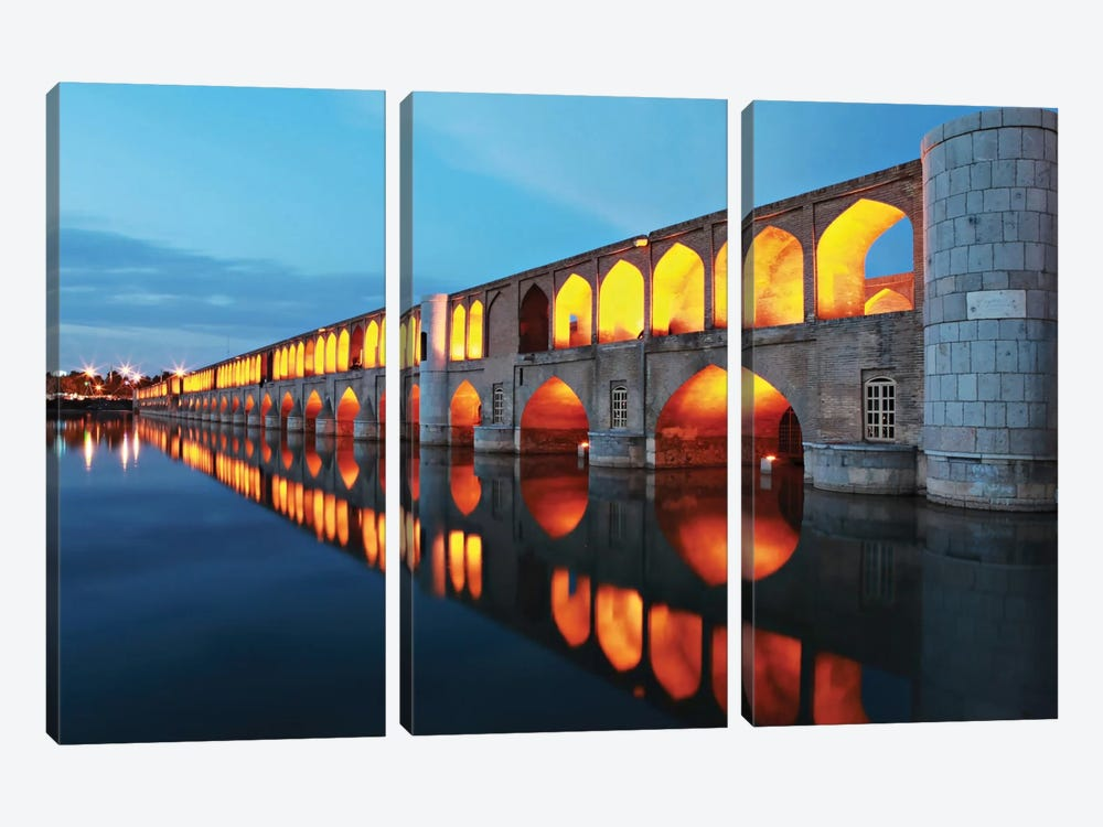 Si-o-seh pol (33 POL, The Bridge Of Thirty-Three Spans, Allahverdi Khan Bridge), Isfahan, Iran by Mohammadreza Momeni 3-piece Canvas Print