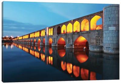 Si-o-seh pol (33 POL, The Bridge Of Thirty-Three Spans, Allahverdi Khan Bridge), Isfahan, Iran Canvas Art Print