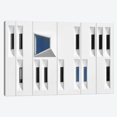 Composition In White, Black And Blue Canvas Print #OXM196} by Michiel Hageman Art Print