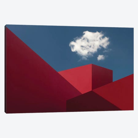 Red Shapes 3-Piece Canvas #OXM197} by Hugo Borges Canvas Print