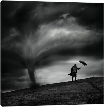 Man In The Wind Canvas Art Print