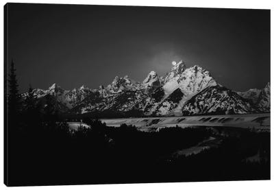 Full Moon Sets In The Teton Mountain Range Canvas Art Print