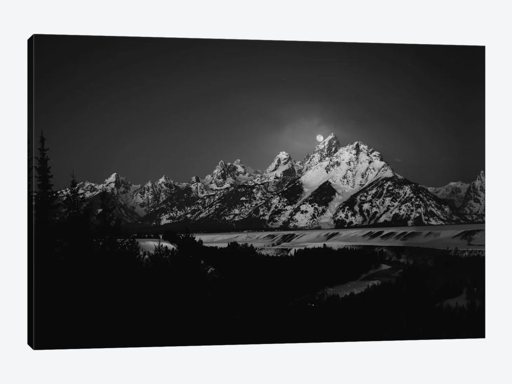 Full Moon Sets In The Teton Mountain Range by Raymond Salani III 1-piece Canvas Wall Art