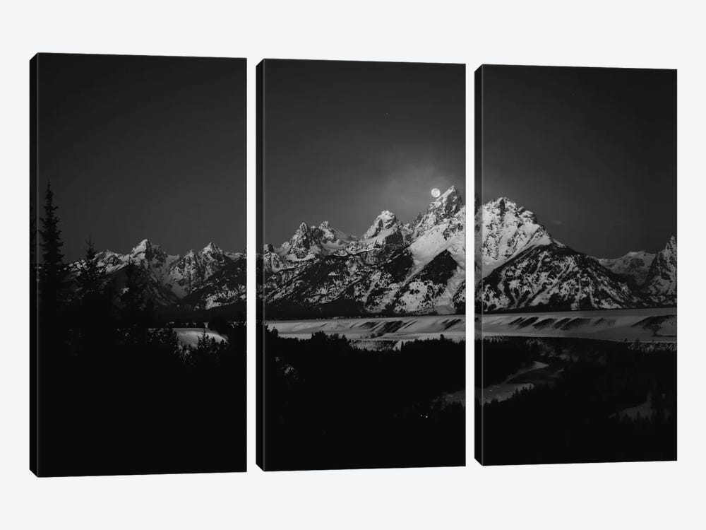 Full Moon Sets In The Teton Mountain Range by Raymond Salani III 3-piece Canvas Art