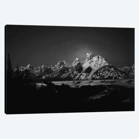 Full Moon Sets In The Teton Mountain Range Canvas Print #OXM2001} by Raymond Salani III Canvas Wall Art