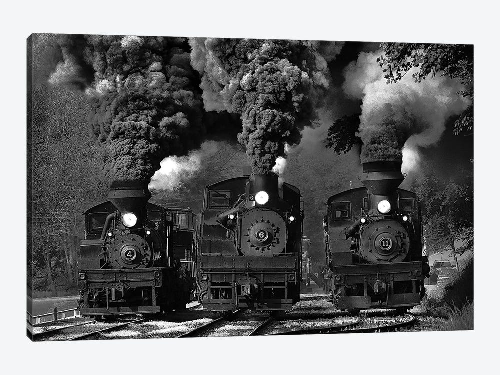 Train Race In B&W by Chuck Gordon 1-piece Canvas Wall Art