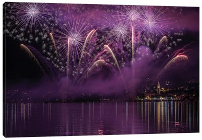 Fireworks Lake Pusiano Canvas Art Print