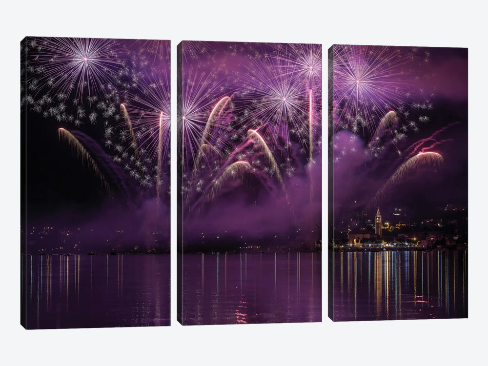 Fireworks Lake Pusiano by Roberto Marini 3-piece Canvas Print
