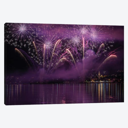 Fireworks Lake Pusiano Canvas Print #OXM2020} by Roberto Marini Canvas Artwork