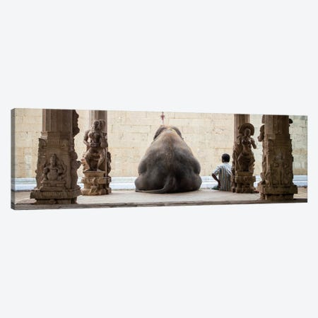 The Elephant & It's Mahot Canvas Print #OXM2042} by Ruhan Canvas Wall Art