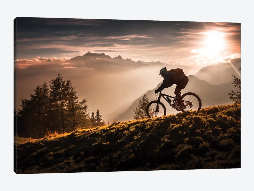 Golden Hour Biking 1-piece Canvas Artwork