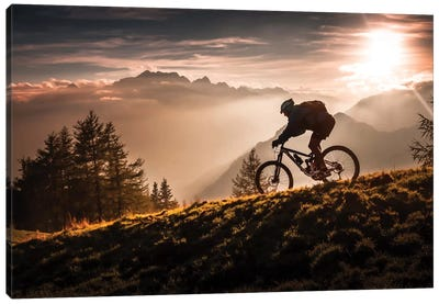 Golden Hour Biking Canvas Art Print