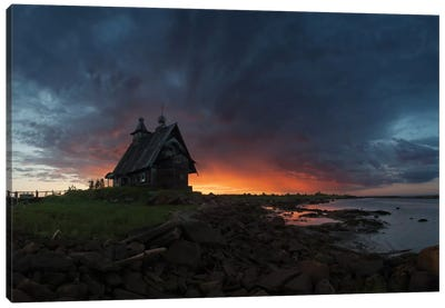 The Old Church On The Coast Of The White Sea Canvas Art Print