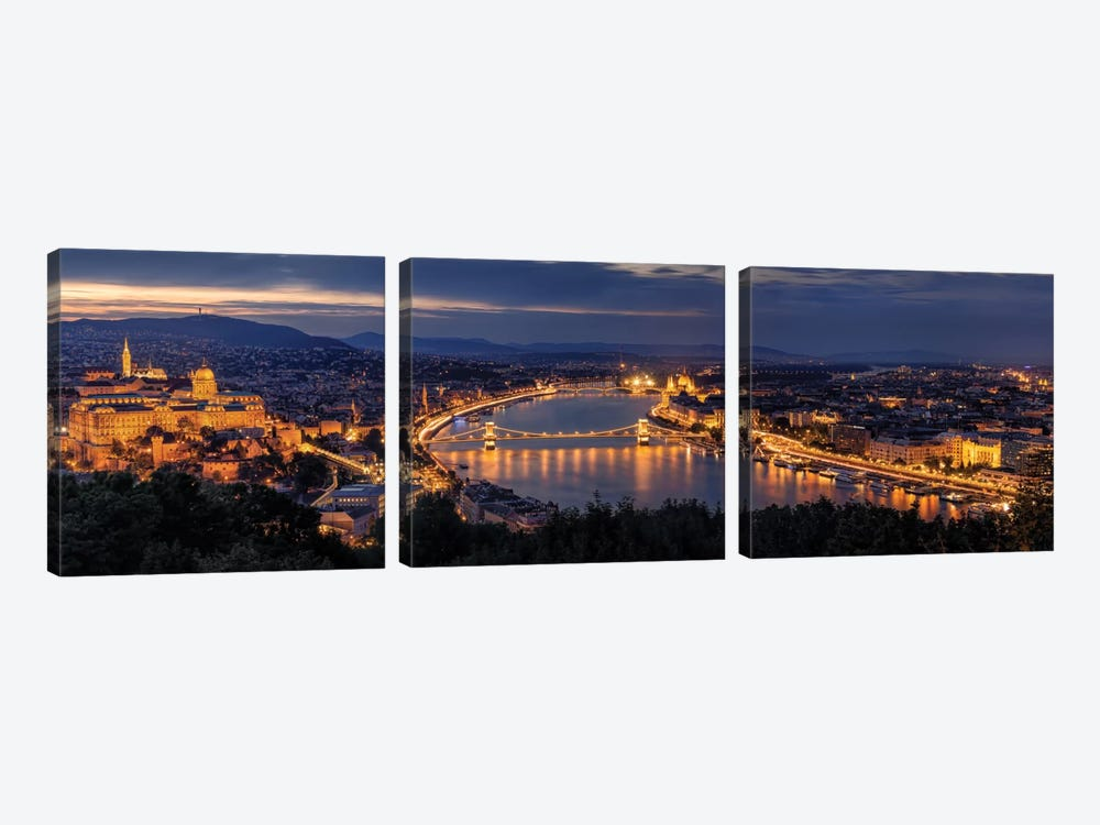 Panorama Of Budapest by Thomas D Mørkeberg 3-piece Canvas Art Print