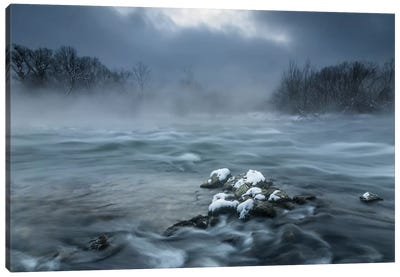Frosty Morning At The River Canvas Art Print