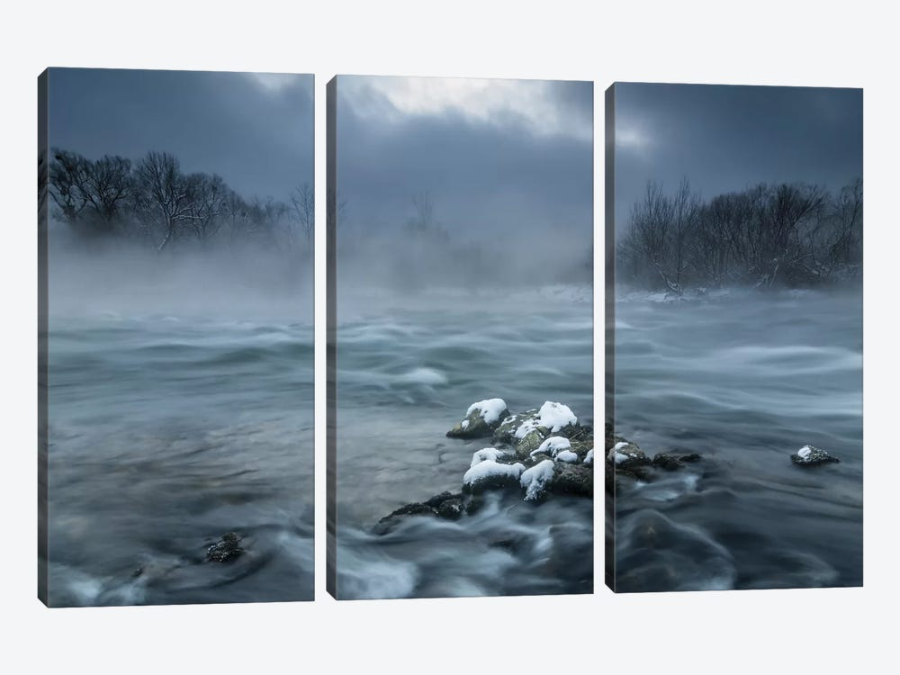 Frosty Morning At The River by Tom Meier 3-piece Canvas Wall Art