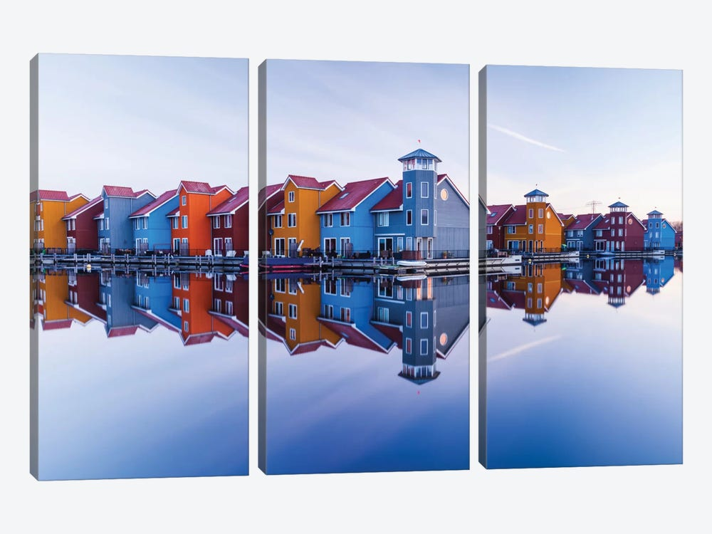 Colored Homes 3-piece Canvas Art Print