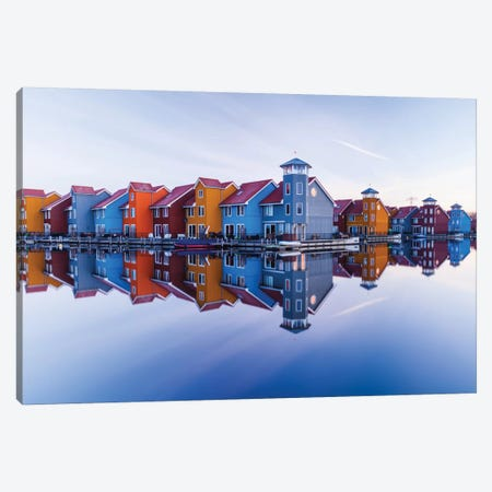 Colored Homes 3-Piece Canvas #OXM2165} by Ton Drijfhamer Canvas Wall Art