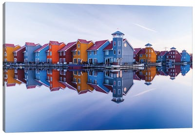 Colored Homes Canvas Art Print